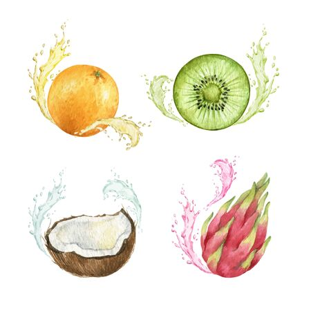 Watercolor vector hand painted set of exotic fruits.