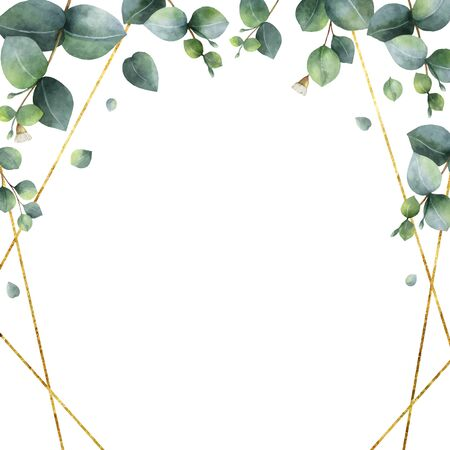 Watercolor vector hand painted geometric gold frame with green eucalyptus leaves. Illustration for cards, wedding invitation, posters, save the date or greeting design isolated on white background.