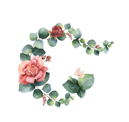 Watercolor vector hand painted wreath with green eucalyptus leaves and flowers. Illustration for cards, wedding invitation, posters, save the date or greeting design isolated on white background. 向量圖像