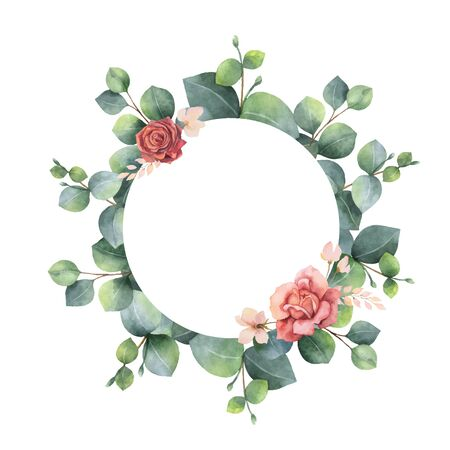 Watercolor vector hand painted frame with green eucalyptus leaves and flowers. 向量圖像