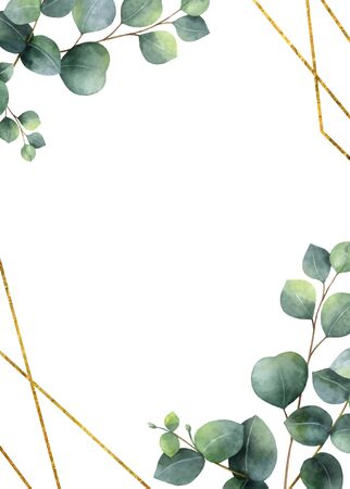 Watercolor vector frame with green eucalyptus leaves. 向量圖像