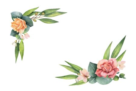 Watercolor vector hand painted wreath with green eucalyptus leaves and flowers. Illustration for cards, wedding invitation, posters, save the date or greeting design isolated on white background. Ilustracja