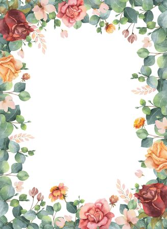 Watercolor vector hand painted frame with green eucalyptus leaves and flowers. Illustration for cards, wedding invitation, posters, save the date or greeting design isolated on white background.