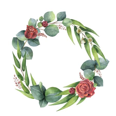 Watercolor vector hand painted wreath with green eucalyptus leaves and flowers. Illustration for cards, wedding invitation, posters, save the date or greeting design isolated on white background. Ilustrace