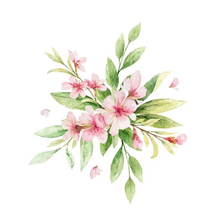 Watercolor vector wreath of pink flowers and almond leaves. Flower hand painted illustration for greeting cards, wedding invitations, scrapbooking, posters and more. Vector Illustratie