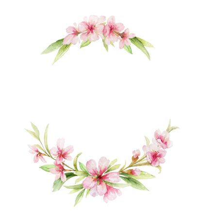 Watercolor vector wreath of pink flowers and almond leaves. Flower hand painted illustration for greeting cards, wedding invitations, scrapbooking, posters and more. Vettoriali