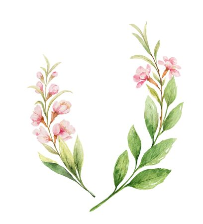 Watercolor vector wreath of pink flowers and almond leaves. Flower hand painted illustration for greeting cards, wedding invitations, scrapbooking, posters and more.