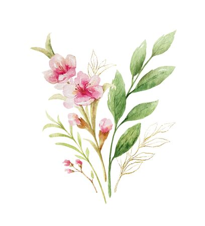 Watercolor vector bouquet of pink flowers and almond leaves.
