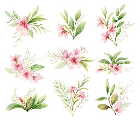 Watercolor vector set of bouquets of pink flowers and leaves.