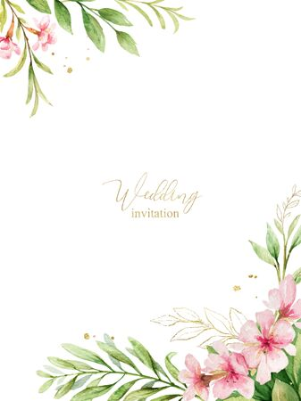 Watercolor vector card of pink flowers and almond leaves. Vector Illustratie