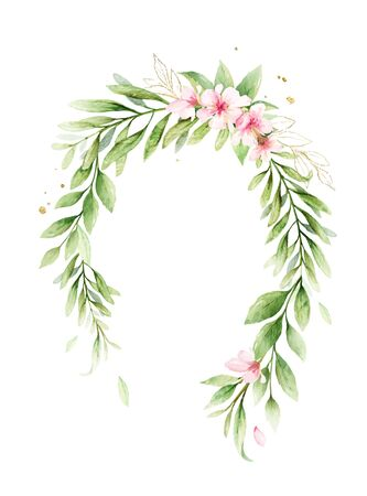 Watercolor vector wreath of pink flowers and green leaves. Flower hand drawn illustration for greeting cards, wedding invitations, invite, posters and more. Copy space. Vettoriali