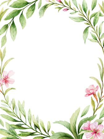 Watercolor vector card of pink flowers and green leaves. Flower hand drawn illustration for greeting cards, wedding invitations, invite, posters and more. Copy space.