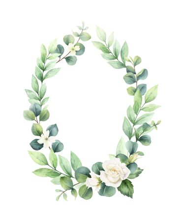 Watercolor vector hand painted wreath with green eucalyptus leaves and roses.