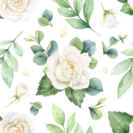 Watercolor  seamless pattern with eucalyptus leaves and roses.