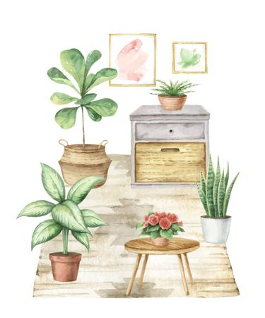 Watercolor vector interior of the house with home plants. Boho home decor clipart. Hand painted illustration for decor, stationary, postcards, packaging, invitations, kitchen, home and gardening. Decorative collection isolated on white background. Stockfoto - 149383080