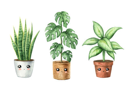 Watercolor cute cartoon houseplant in pots with funny happy face.