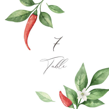 Watercolor vector hand painted red hot chili pepper wedding suite.