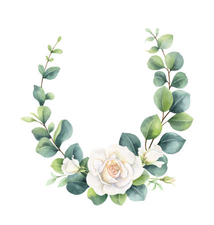 Watercolor vector hand painted wreath with green eucalyptus leaves and white roses. Ilustração