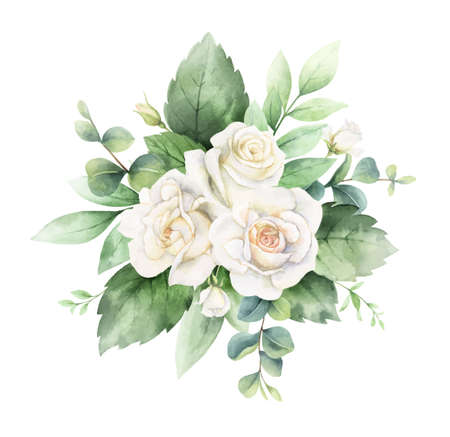 Watercolor vector hand painted bouquet with green eucalyptus leaves and white roses. Ilustração