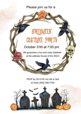 Watercolor vector invitation to a Halloween party.