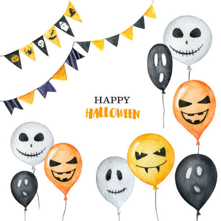 Watercolor Happy Halloween card isolated on a white background.