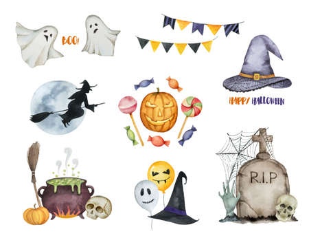 Watercolor vector Happy Halloween set of elements isolated on a white background. Ilustração