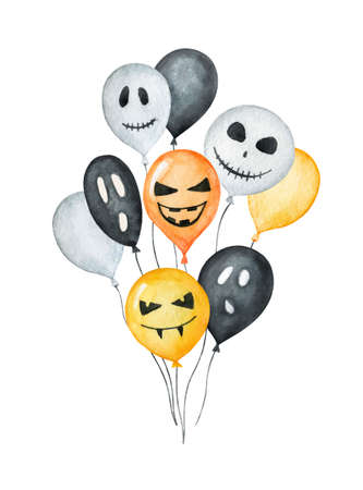 Watercolor vector Happy Halloween card isolated on a white background. Ilustração