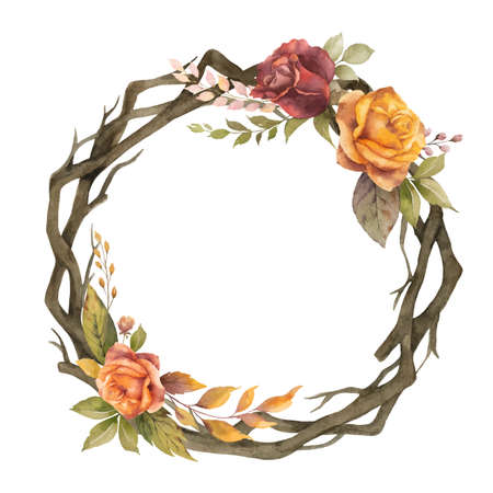 Watercolor autumn wreath with rose and dry branches.