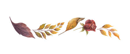 Watercolor vector border with autumn leaves and branches isolated on white background. Arrangement for greeting cards, wedding invitations, invite and decorations.