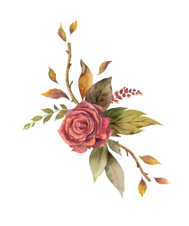 Watercolor vector wreath with autumn leaves and flowers isolated on white background. Arrangement for greeting cards, wedding invitations, invite and decorations.