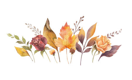 Watercolor vector card with autumn leaves and branches isolated on white background. Arrangement for greeting cards, wedding invitations, invite and decorations.