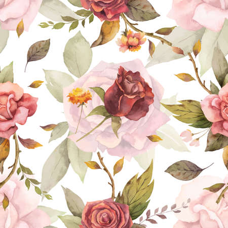 Watercolor vector autumn seamless pattern with fallen leaves.