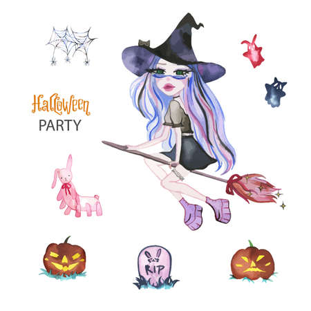 Watercolor magic set of witches for Halloween.