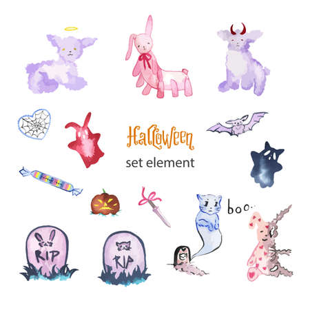 Watercolor magic set of elements for Halloween.