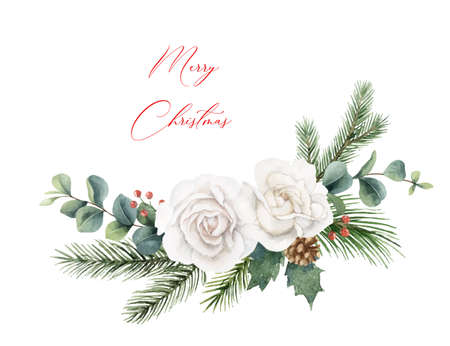 Watercolor vector Christmas wreath with fir branches and flowers.