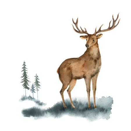 Watercolor vector Christmas card with deer and landscape.