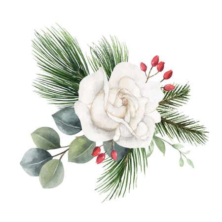 Watercolor vector Christmas bouquet with fir branches and flowers.