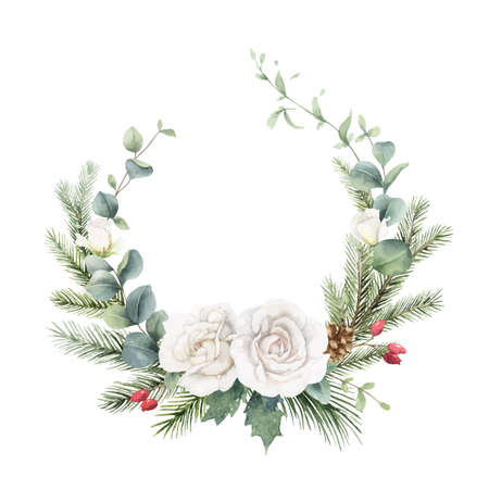 Watercolor vector Christmas wreath with fir branches, rose and eucalyptus.