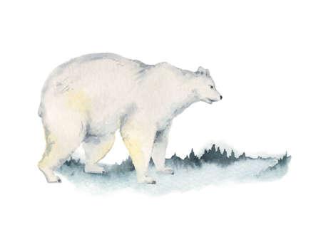 Watercolor vector Christmas card with polar bear and landscape. Ilustração