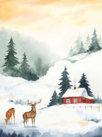 Watercolor vector Christmas card with deer and winter landscape.