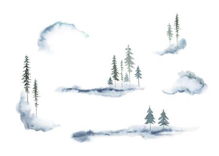 Watercolor vector set of forest winter landscapes. Ilustração