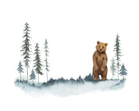Watercolor vector Christmas card with bear and landscape.