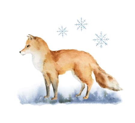 Watercolor vector Christmas card with a Fox and landscape. Ilustração