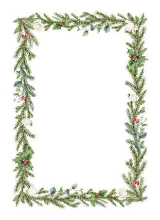 Watercolor vector Christmas wreath with fir branches, white rose and eucalyptus.