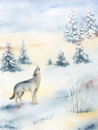 Watercolor vector Christmas card with wolf and landscape.