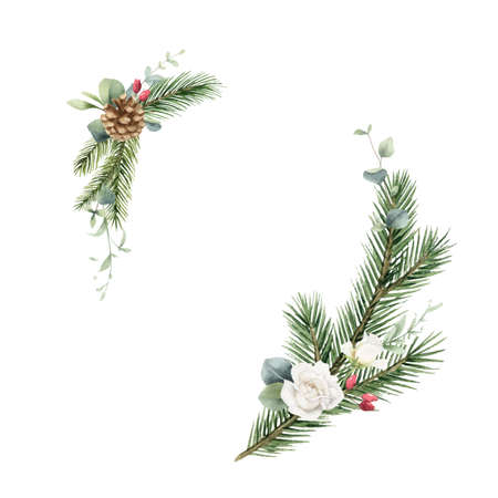 Watercolor vector Christmas wreath with fir branches, flowers and eucalyptus.