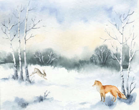 Watercolor vector Christmas card with Fox, hare and winter landscape.
