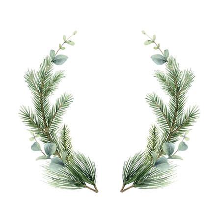 Watercolor vector Christmas wreath with fir branches and eucalyptus. Ilustração