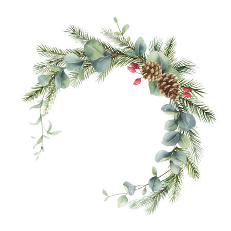 Watercolor vector Christmas wreath with fir branches, cones and eucalyptus.