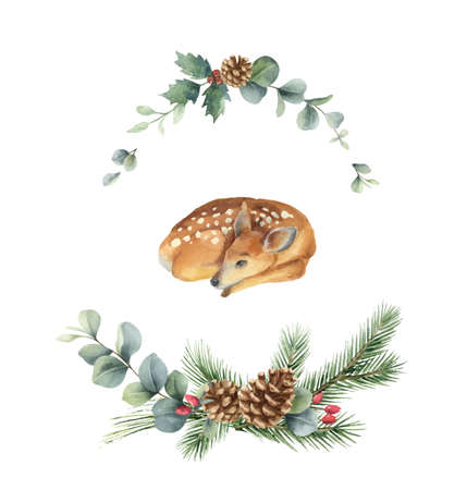 Watercolor vector Christmas wreath with fir branches and fawn. Ilustração